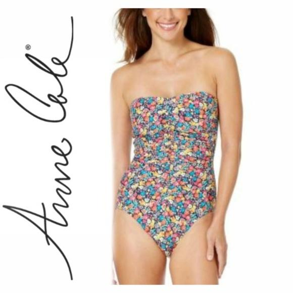 1512fdcadff Anne Cole Swim | Budding Romance Shirred Bandeau Suit | Poshmark